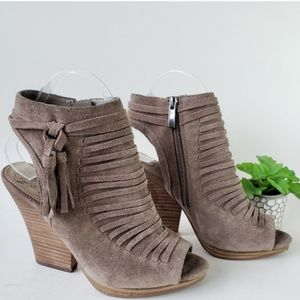 Vince Camuto Taupe Suede VP-Janessa Ankle Booties